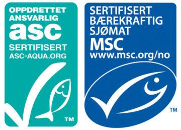 Oppdrettet ansvarlig grønt fiske merke ASC og sertifisert bærekraftig sjømat blått fiske merke MSC