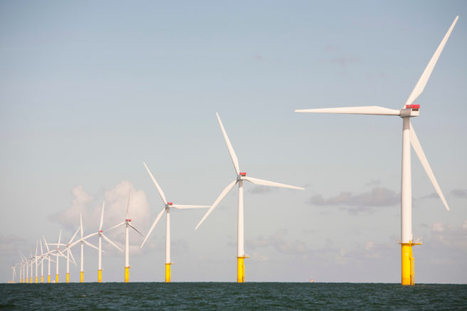The Walney offshore windfarm, Cumbria, UK