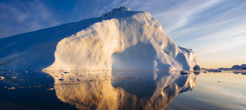 Isbre i solnedgang på Grønland