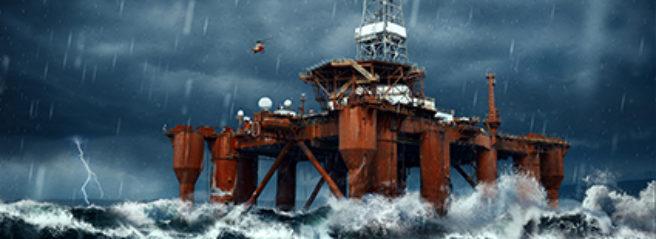 En offshore-plattform i storm
