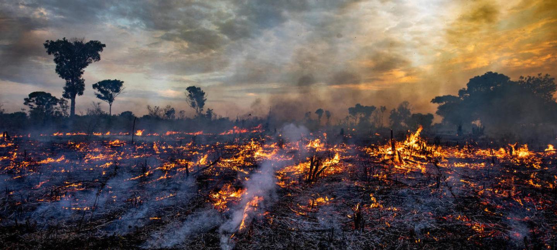 Solnedgang over skog som brenner i Brasil.