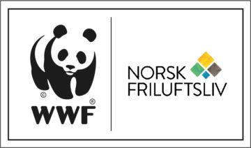 Logoene til WWF Verdens naturfond (en panda) og Norsk friluftsliv.