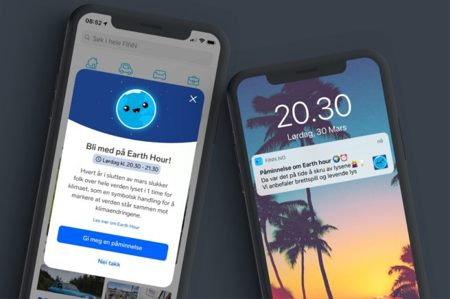 Bilde av to mobiltelefoner med eksempler på skjermen over hvordan Finn.no kan promotere Earth Hour 2019.