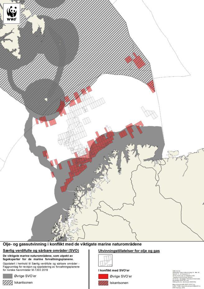 Kart over oljelisenser som er tildelt innenfor området som forskerne anbefaler som avgrensning av iskanten.