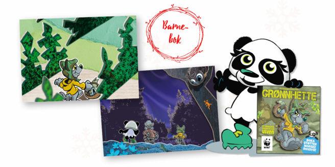 Oppslag av siden fra boka Grønnhette, og den tegnede figuren Tiril, en panda, som viser det fram.