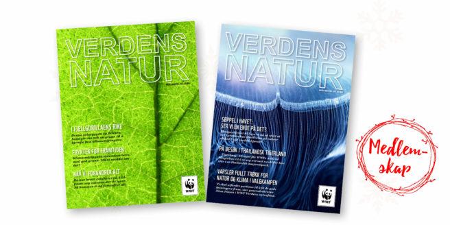 Forsiden på to digitale utgaver av magasinet Verdens Natur