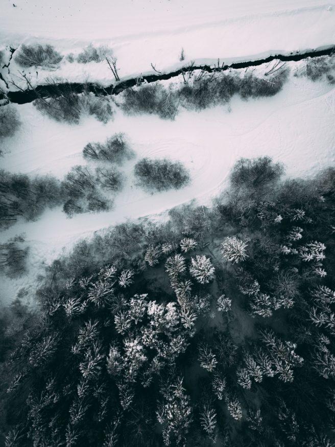 Fugleperspektiv av skog på Skullerud i Oslo. Nederst i bilde strekker snøkledde trær seg opp mot kameraet. Øverst renner en nesten gjenfryst bekk.