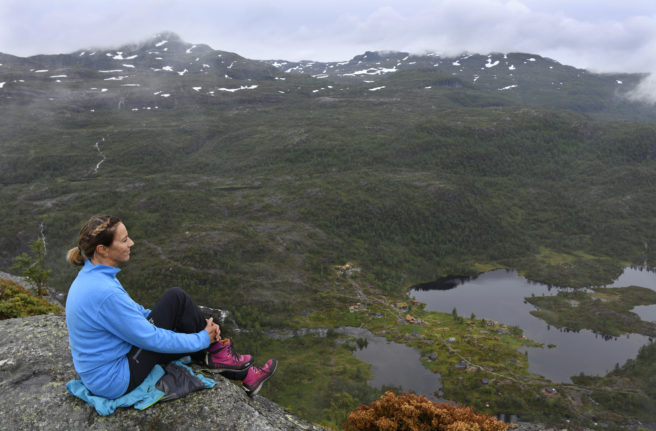 vinne i blå genser sitter på et utkikkspunkt og ser utover en dal